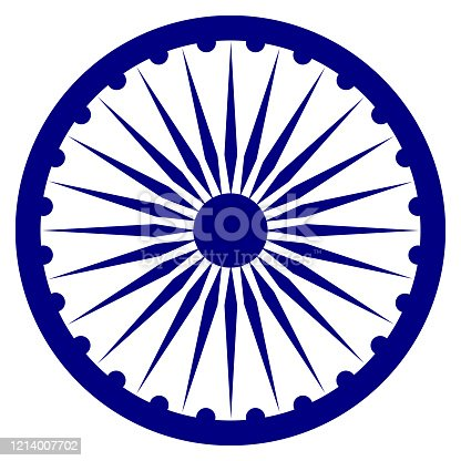 The Ashoka Chakra (Ashok Wheel) vector icon in a navy blue color on a white background. Indian national flag design element. Buddhist symbol of the Dharma Chakra; a wheel represented with 24 spokes.