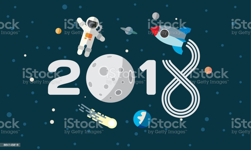 The astronaut and rocket on the moon background. Flat space theme illustration for calendar. 2018 Happy New Year cover, poster, flyer. royalty-free the astronaut and rocket on the moon background flat space theme illustration for calendar 2018 happy new year cover poster flyer stock vector art & more images of 2018