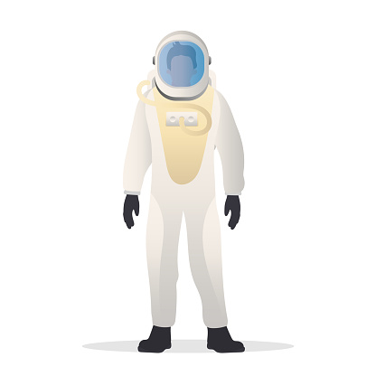 The astronaut in a protective suit. Suitable for space flight theme. Isolated. Vector.