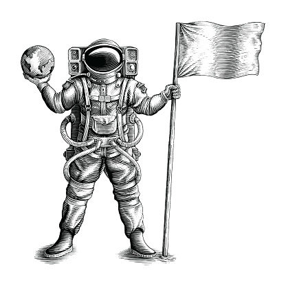The astronaut standing and holding flag and globe hand draw vintage engraving style black and white clip art isolated on white background