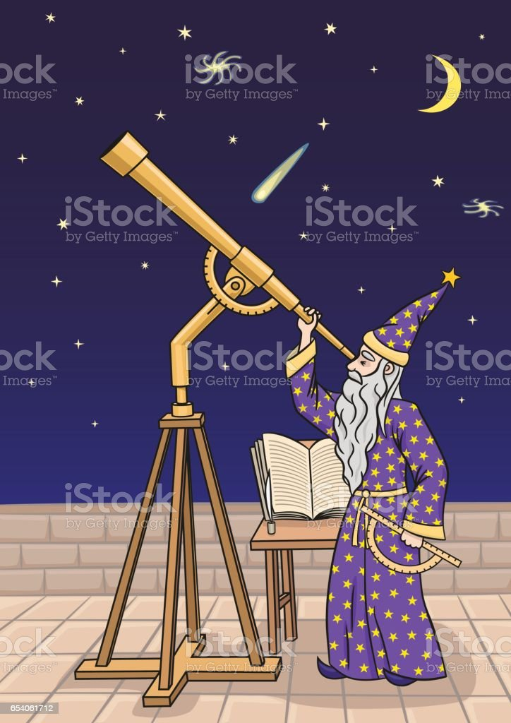 The astronomer at the telescope. - Illustration vectorielle