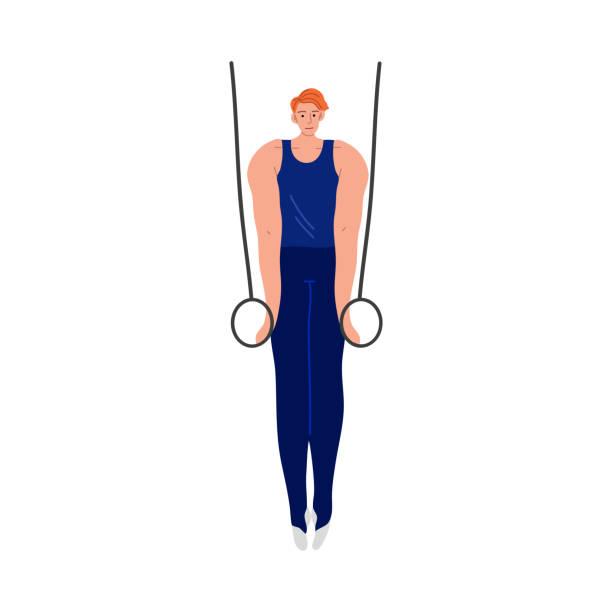 ilustrações de stock, clip art, desenhos animados e ícones de the athlete in a blue uniform makes a difficult exercise on gymnastic rings in the gym. vector illustration in the flat cartoon style. - tronco nu