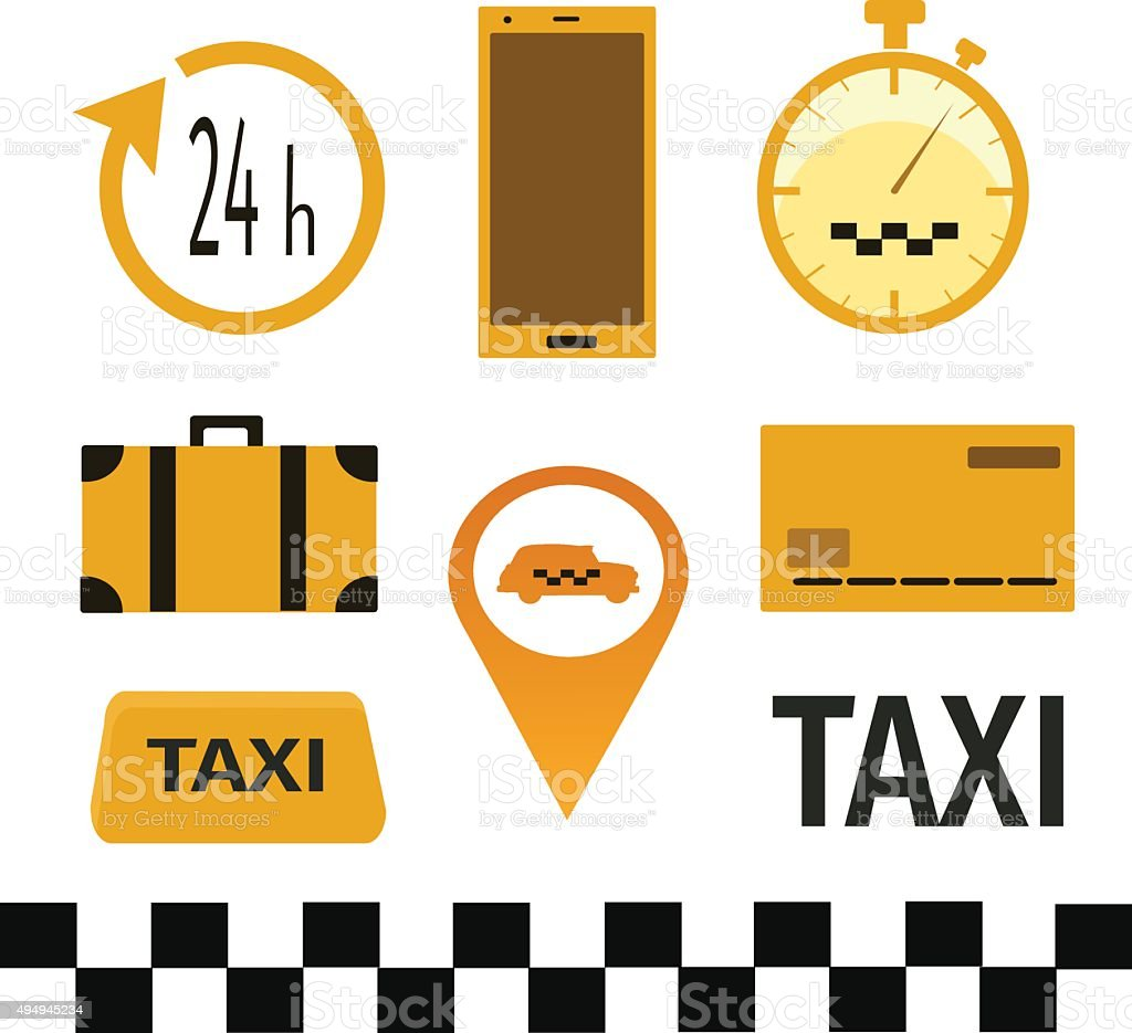 the attributes of a taxi vector art illustration