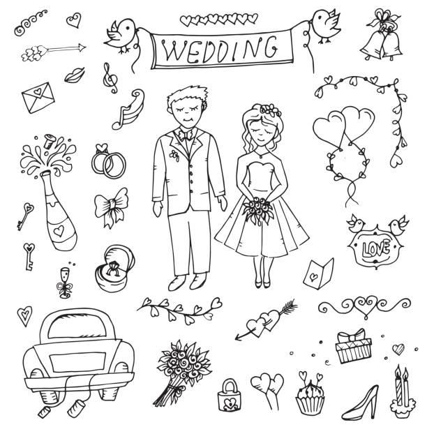 die attribute von der hochzeit, die braut und bräutigam, liebe, hochzeit, doodle - kirchenring stock-grafiken, -clipart, -cartoons und -symbole