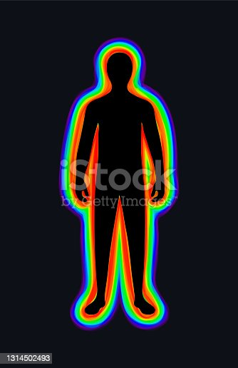 istock The aura of the body. The rainbow color marks the layers of the male body. The etheric, emotional, metallic, astral, celestial, and causal layers. Black background. Vector 1314502493