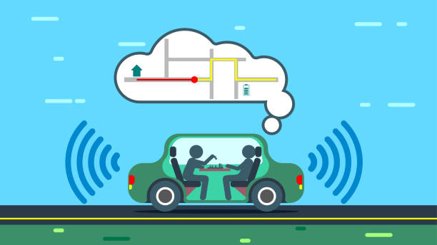 das autonome auto nutzt gps-karten - sensorischer impuls stock-grafiken, -clipart, -cartoons und -symbole