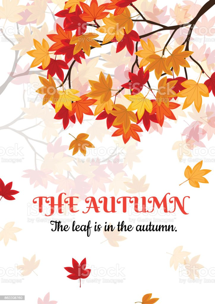 Sonbahar Kartı Tatlı Sakız Leavas Sonbaharda Var Bu Vektör çizim
