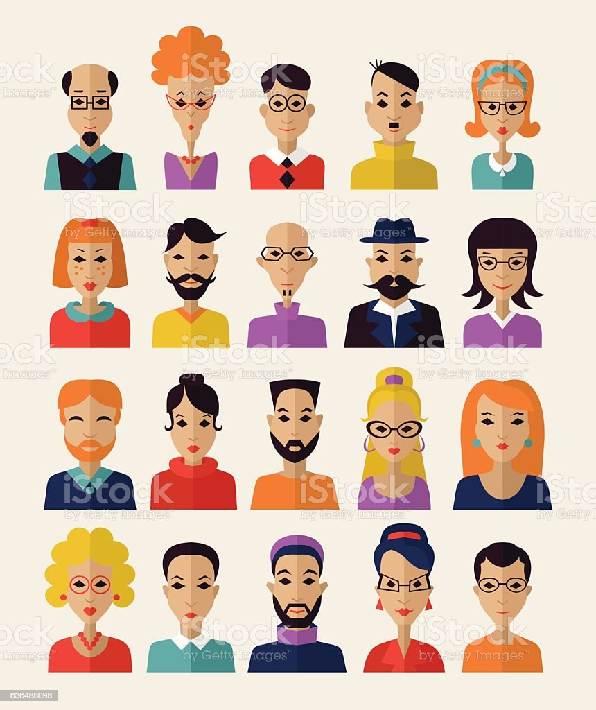 The avatar, the people, the head of the person vector art illustration