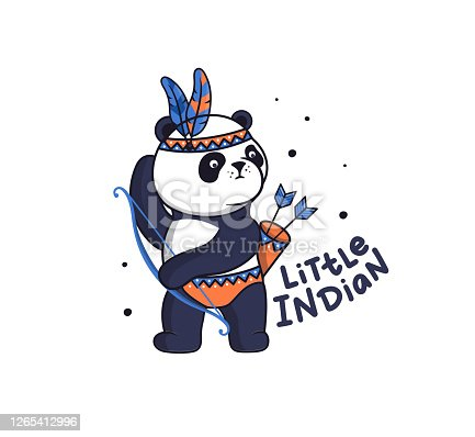 istock The baby boy panda in boho style. Funny animal cartoon with feathers wants to shoot a bow 1265412996