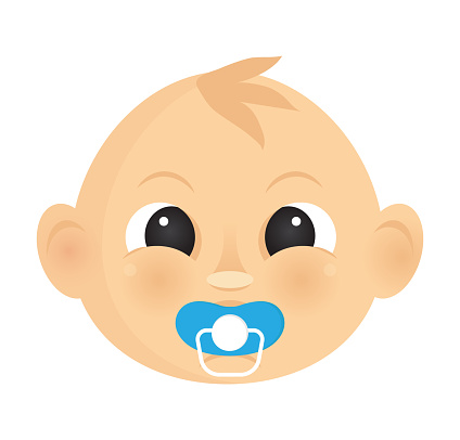 The baby newborn face. Cartoon baby vector
