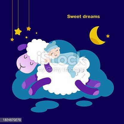 istock The baby sleeps on a sheep. Flat style illustration. 1324570270