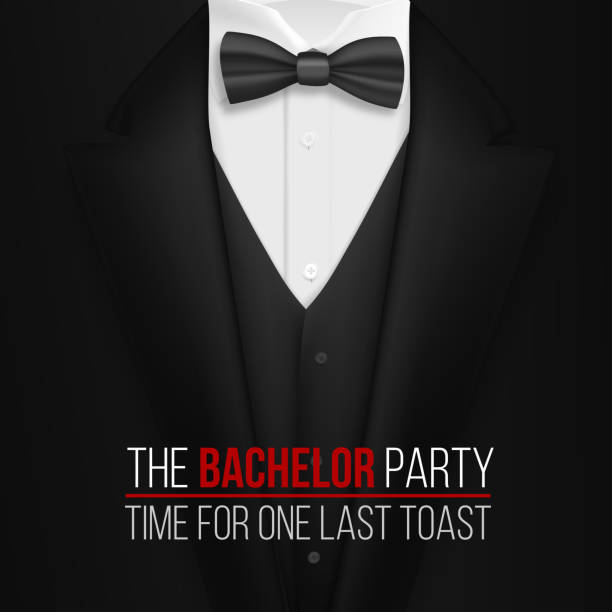 The Bachelor Party Invitation Template. Realistic 3D Vector Black Suit with Bow Tie Illustration of The Bachelor Party Invitation Template. Realistic 3D Vector Black Suit with Bow Tie tuxedo stock illustrations