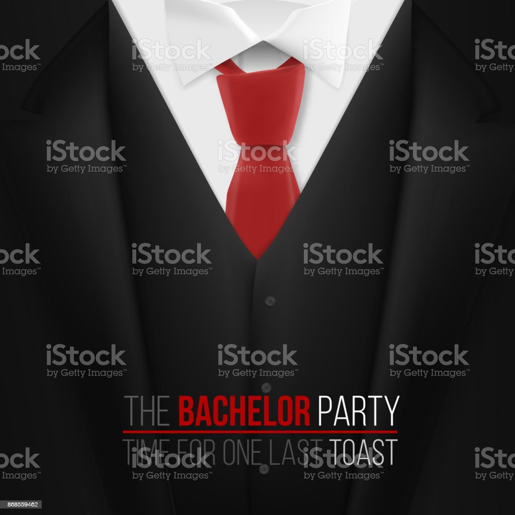 The Bachelor Party Invitation Template Realistic 3d Vector Black ...