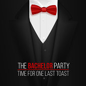 The Bachelor Party Invitation Template. Realistic 3D Vector Black Suit with Bow Tie