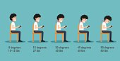 The bad smart phone postures,the angle of bending head related to the pressure on the spine,body posture
