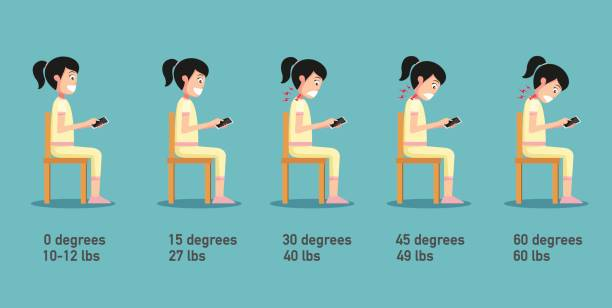 The bad smart phone postures,the angle of bending head related to the pressure on the spine,body posture The bad smart phone postures,the angle of bending head related to the pressure on the spine,body posture.vector illustration neck stock illustrations