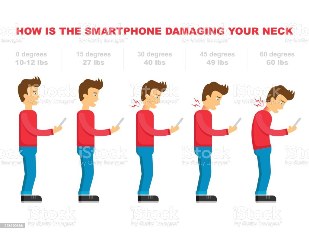 The bad smartphone postures,the angle of bending head related to the pressure on the spine, vector flat cartoon illustration. Man with phone with neck pain isolated on white background stock vector vector art illustration