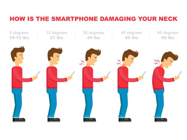 The bad smartphone postures,the angle of bending head related to the pressure on the spine, vector flat cartoon illustration. Man with phone with neck pain isolated on white background stock vector Smartphone Addiction Infographics. Human anatomy in flat design. Vector Illustration. posture stock illustrations