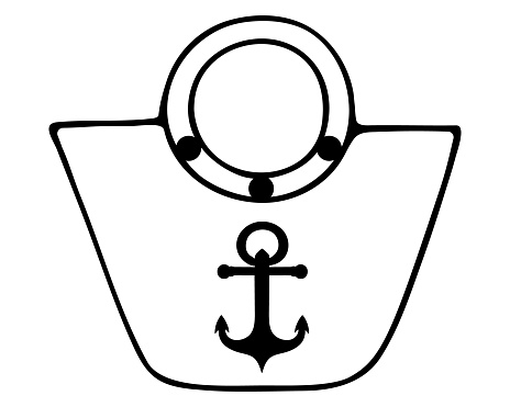 The bag is beach. Sketch. Vector illustration. Outline on an isolated white background. Feminine accessory with an ornament in the form of an anchor. Doodle style. Marine subjects. A large package for personal items.