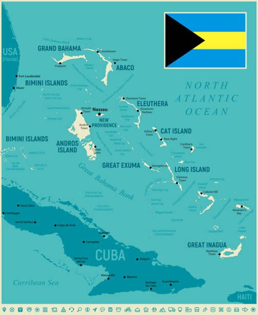 stockillustraties, clipart, cartoons en iconen met de bahama's hoog gedetailleerde kaart. vectorillustratie met icon set - nassau new providence