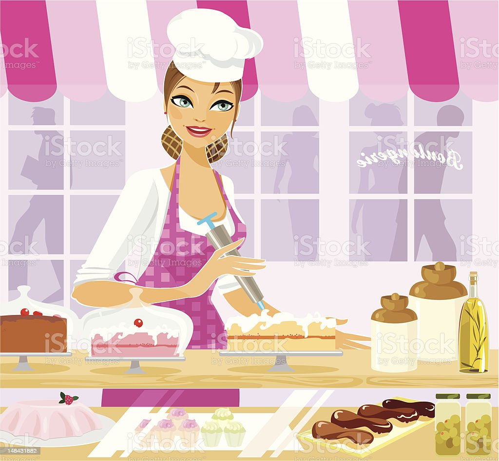 The Bakery Lady royalty-free the bakery lady stock vector art & more images of adult
