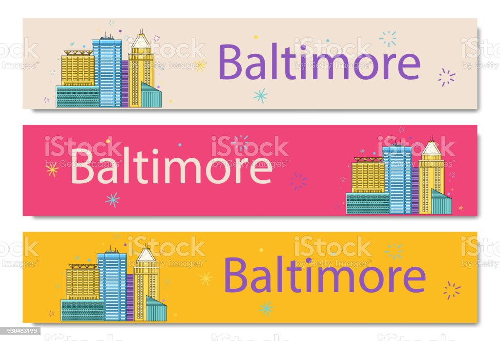 The Baltimore banner. City sticker in lines. Vector in the outline vector art illustration