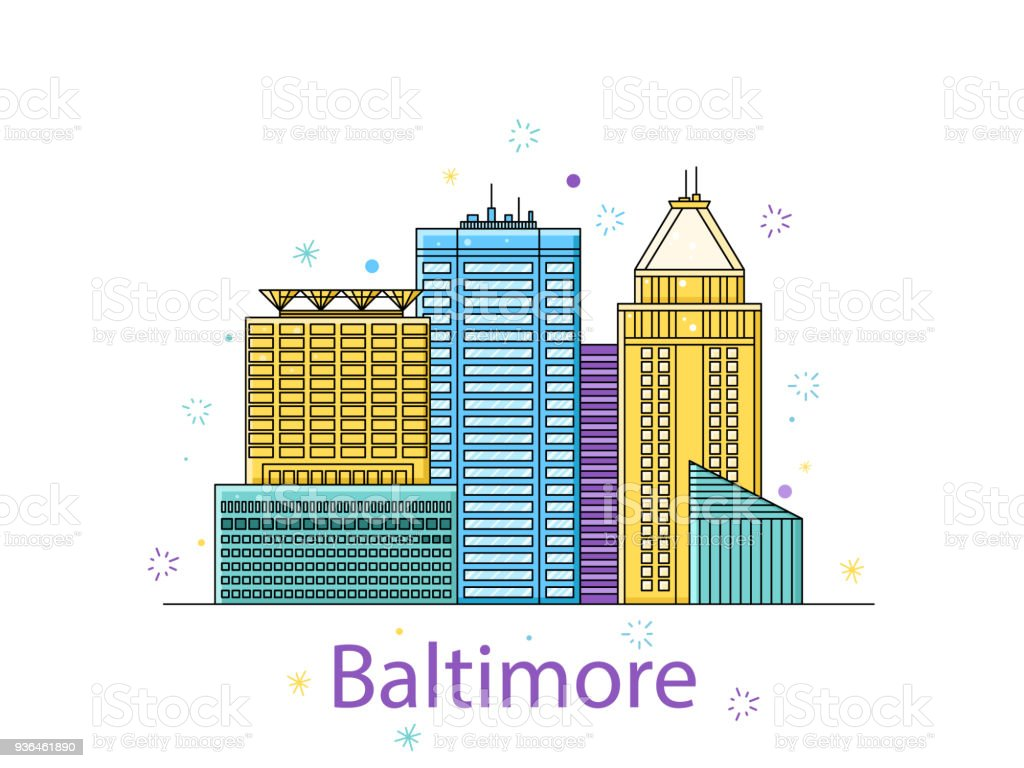 The Baltimore sketch. City sticker in lines. Vector in the outline vector art illustration
