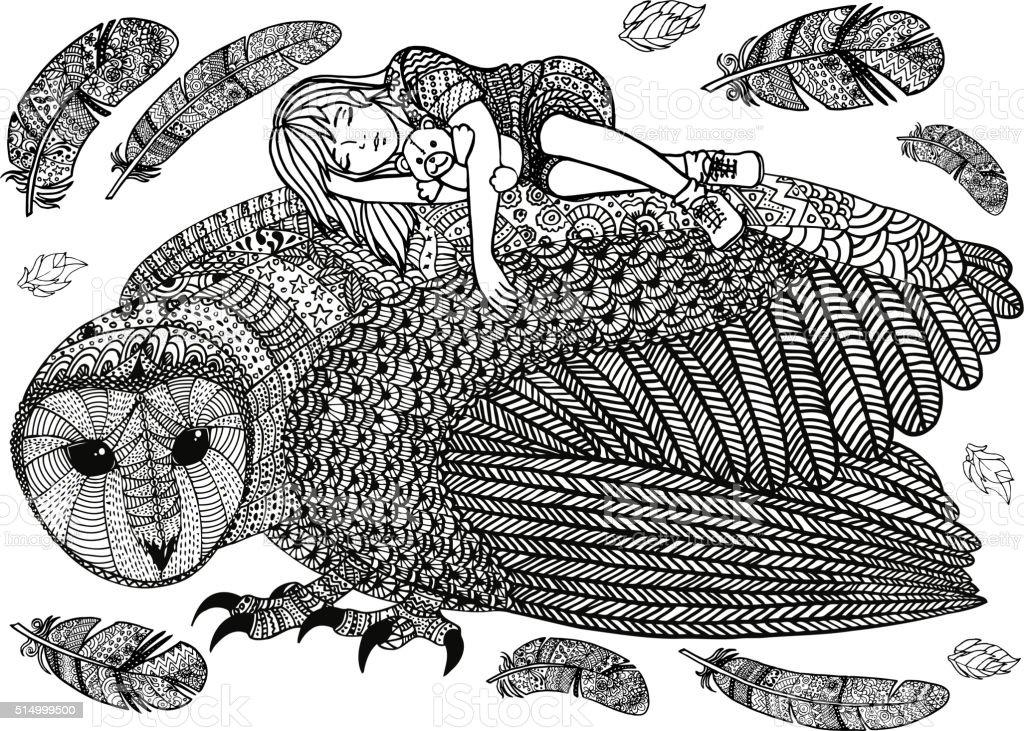 The barn owl, girl and feathers向量藝術插圖
