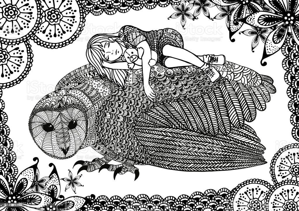 The barn owl, girl and pattern向量藝術插圖