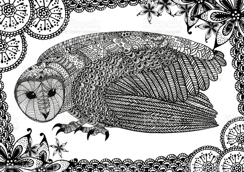 The barn owl with pattern向量藝術插圖