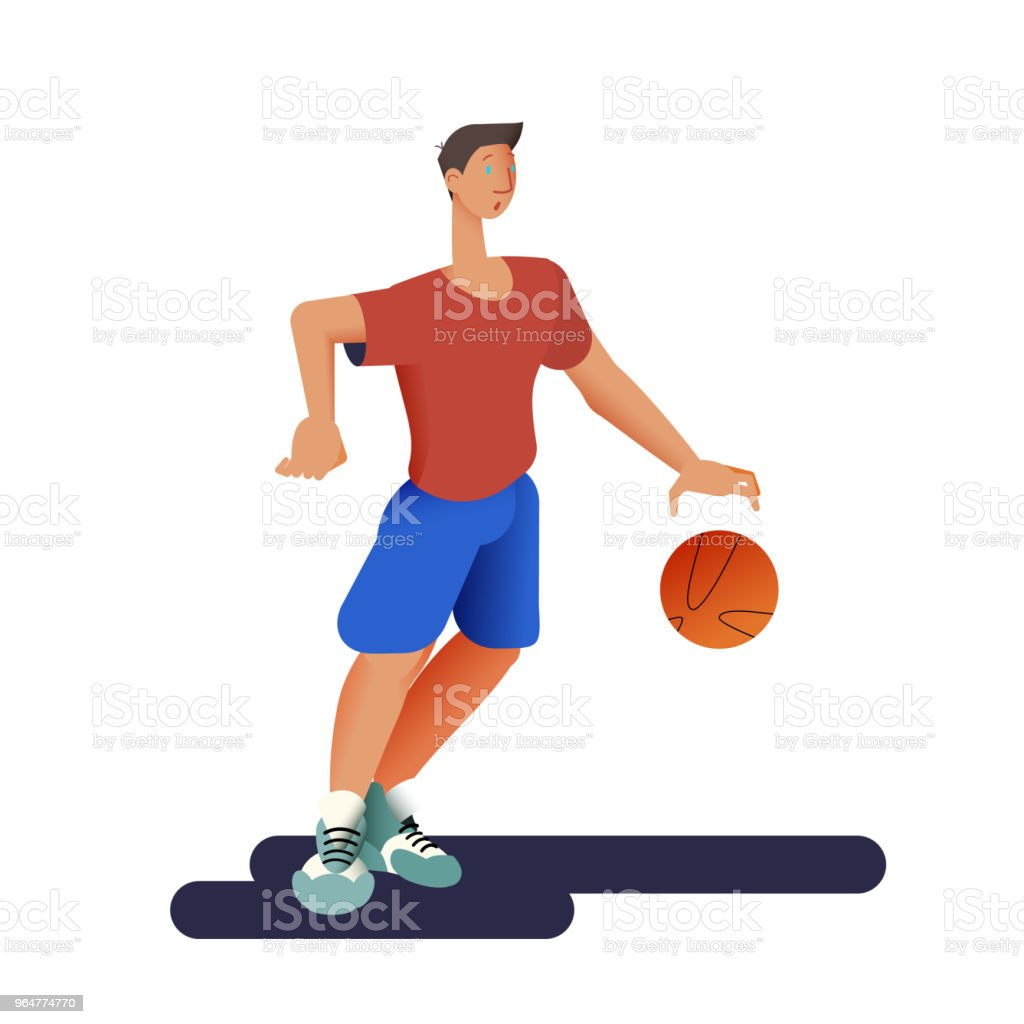 The basketball player. Basketball sportsman in flat with gradient design. It can be used for flyer, banner to sporting events, packing for sports goods. Vector illustration. royalty-free the basketball player basketball sportsman in flat with gradient design it can be used for flyer banner to sporting events packing for sports goods vector illustration stock vector art & more images of athlete