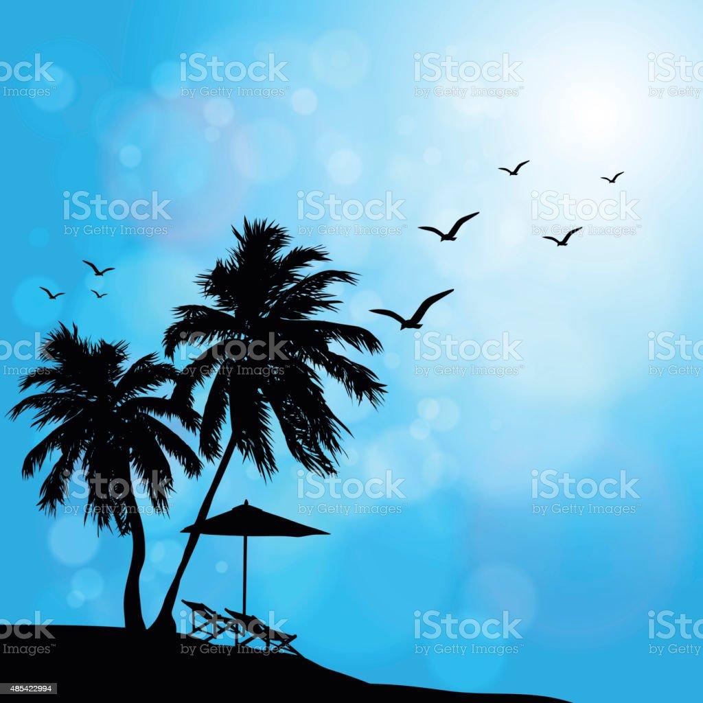 The beach bubble blue sky vector art illustration