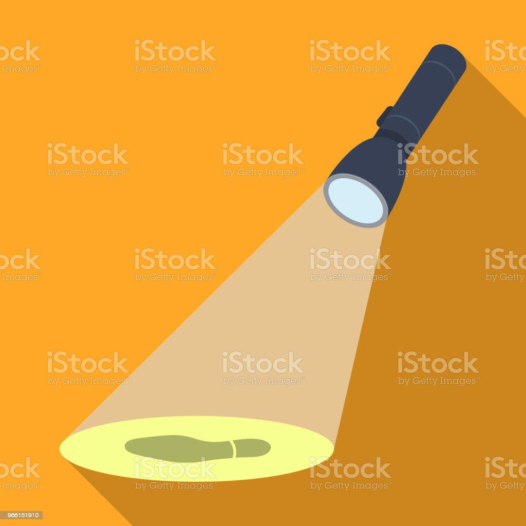 The beam of the flashlight illuminates the footprint. The light of the flashlight single icon in flat style vector symbol stock illustration web. - Royalty-free Crime stock vector