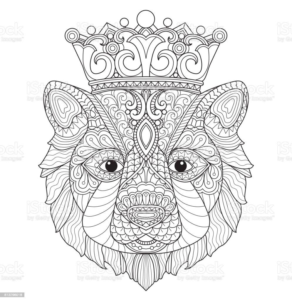 Björnen king line art illustration. vektorkonstillustration