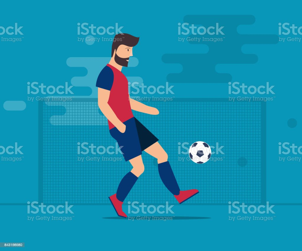 The bearded man plays football. Soccer ball Isolated vector illustration on a blue background. vector art illustration