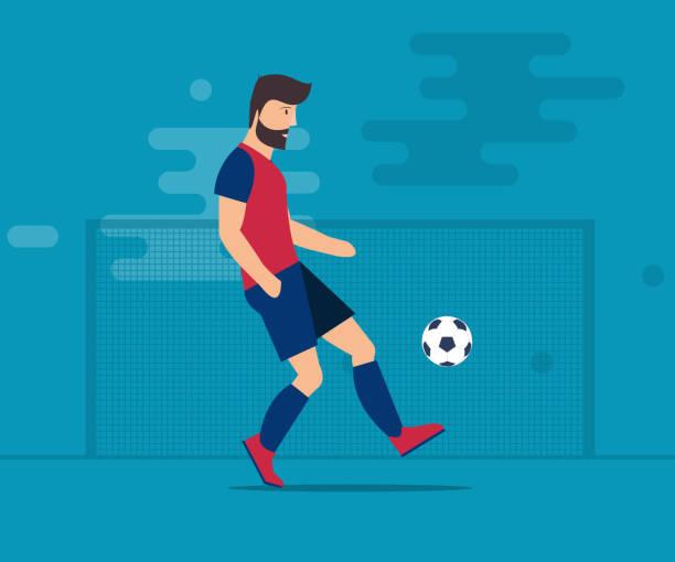 stockillustraties, clipart, cartoons en iconen met de bebaarde man speelt voetbal. voetbal bal geïsoleerde vectorillustratie op een blauwe achtergrond. - soccer player