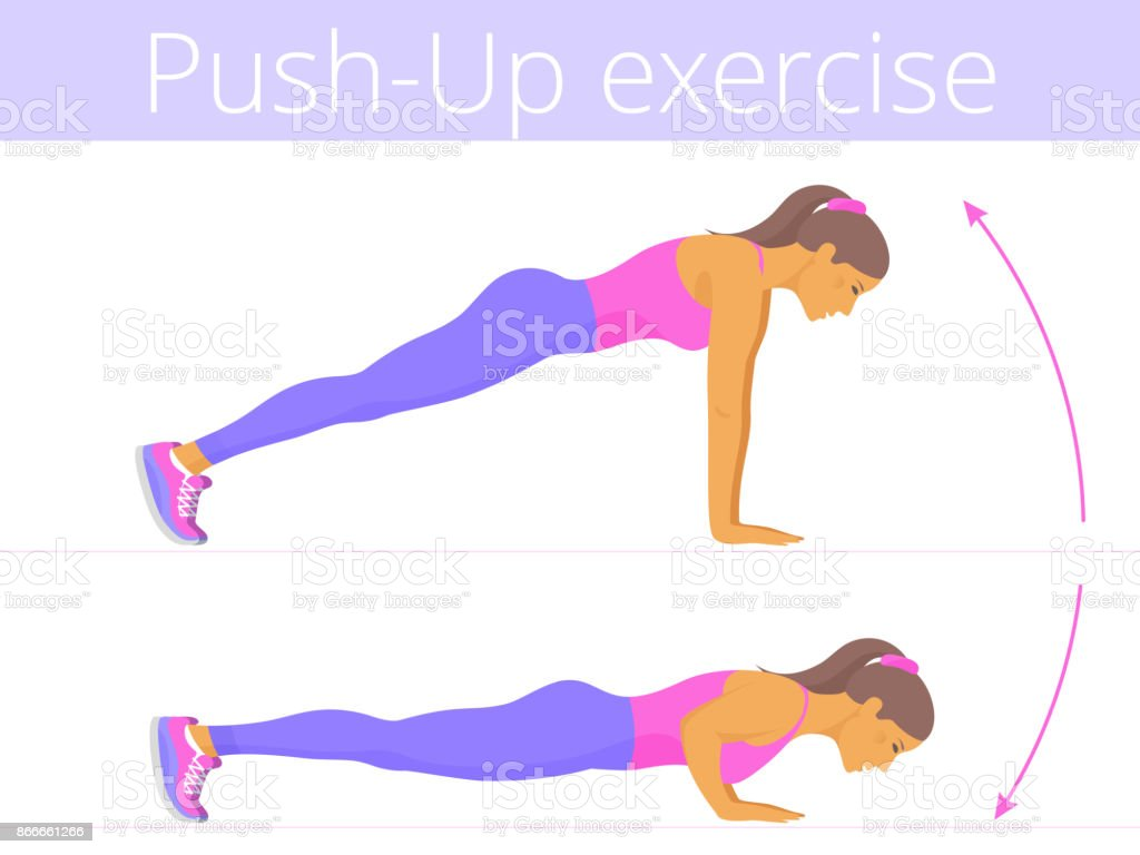 The beautiful caucasian young woman is doing the push-up exercise. vector art illustration