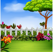 the beautiful garden with the fance and flowers