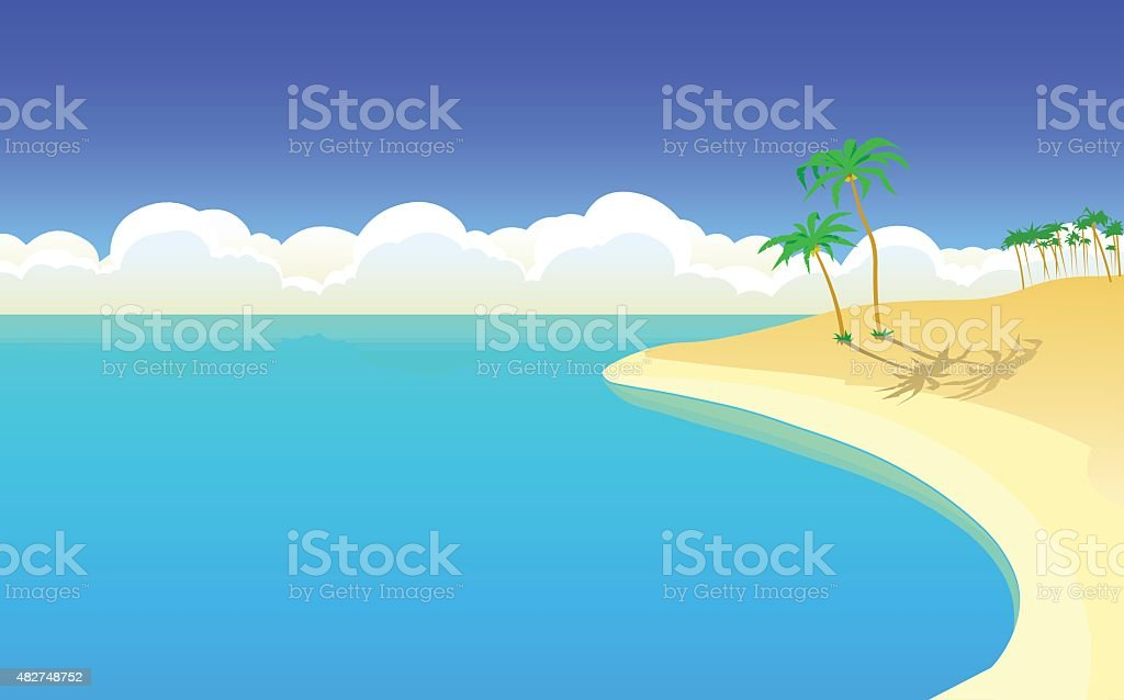 The beautiful island in the ocean. Poster. Postcard. Background. vector art illustration