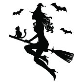 The beautiful silhouette of a witch on a broom