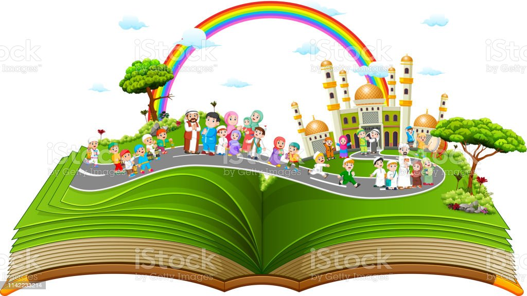 the beautiful story book with the muslim people on it