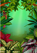 the beautiful walpaper with the aglomena leaves and trees