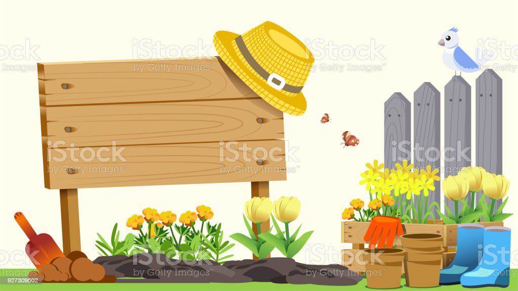 The beginning of basic gardening. Element of spring. Cute concept style. Getting Started in Creating Good Things. vector art illustration