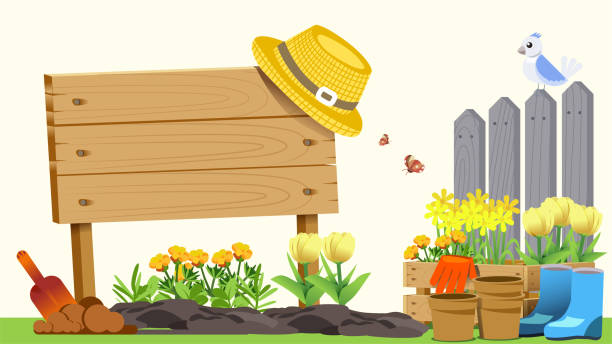 The beginning of basic gardening. Element of spring. Cute concept style. Getting Started in Creating Good Things. The beginning of basic gardening. Element of spring. Cute concept style. Getting Started in Creating Good Things. gardening stock illustrations