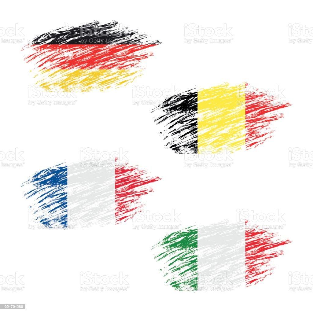 Görünüm çizgileri Set Grunge Bayrakları Belçikalı Alman Fransız Ve