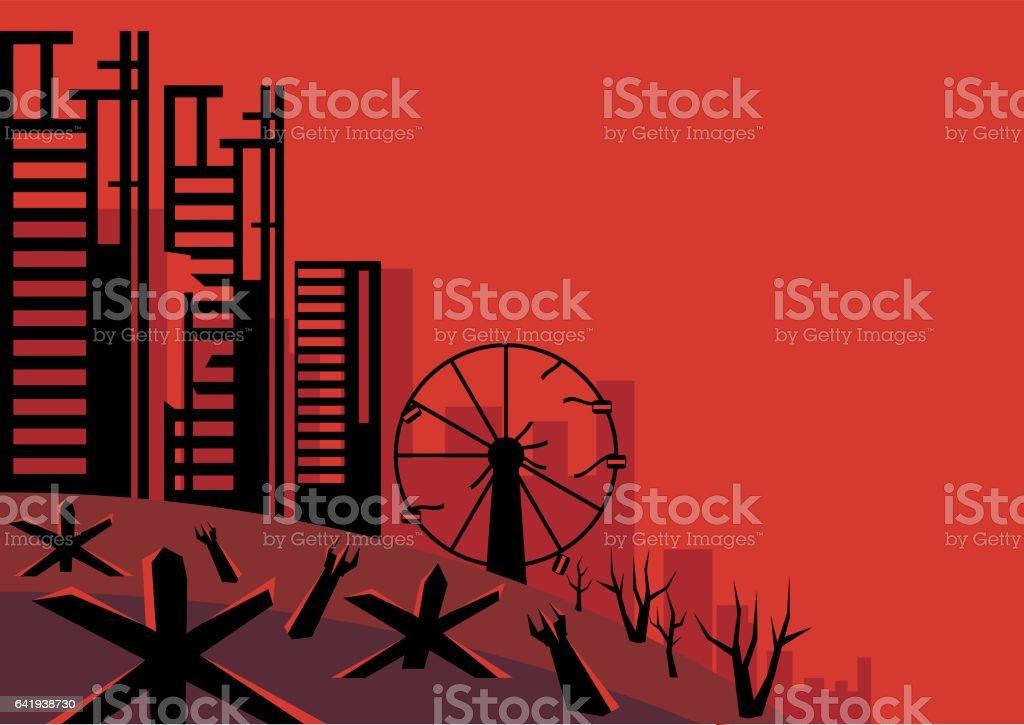 the besieged city vector art illustration