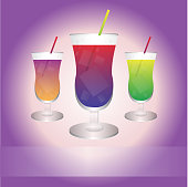 Vector illustration of three best drinks with the place for your slogan. Eps format is available.