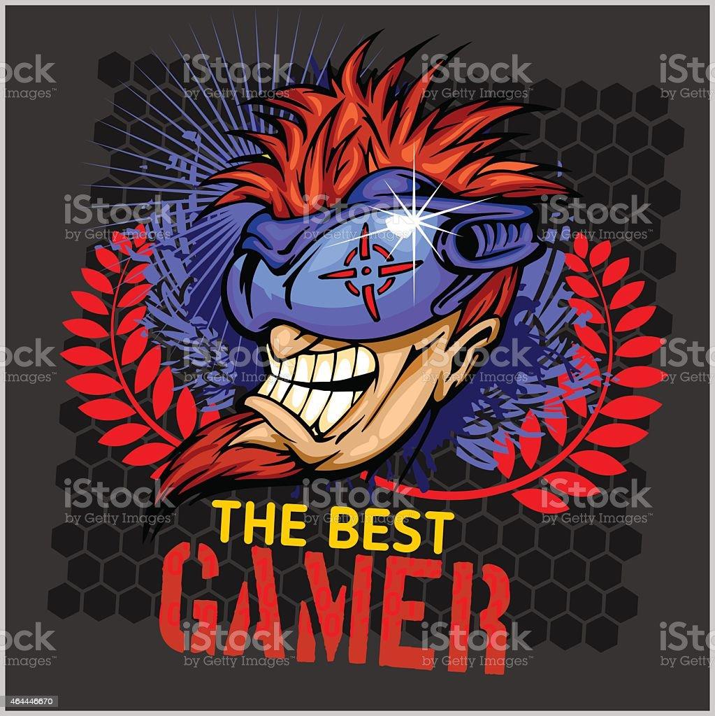 The Best Gamer -  T-Shirt Design Vector vector art illustration