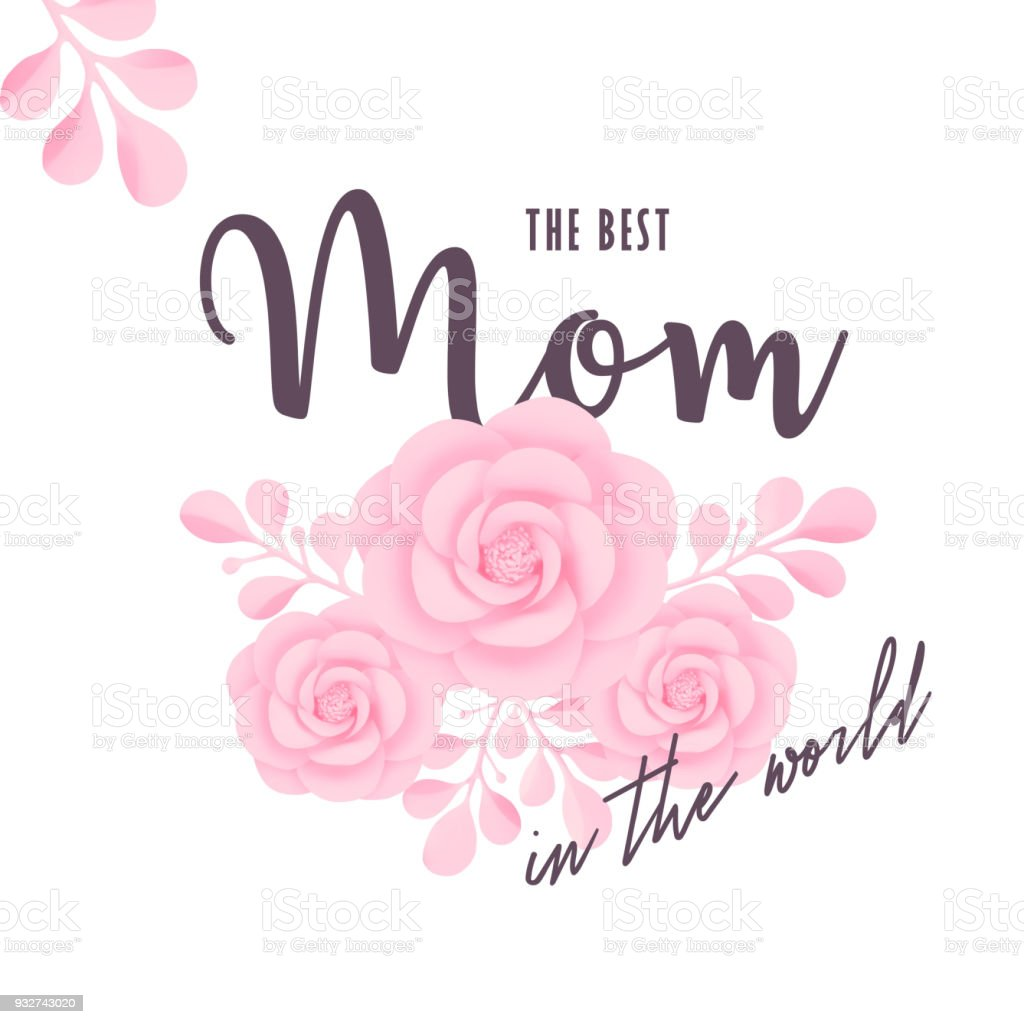 The Best Mom In World Vector Illustration Mothers Day Greeting Card Template With