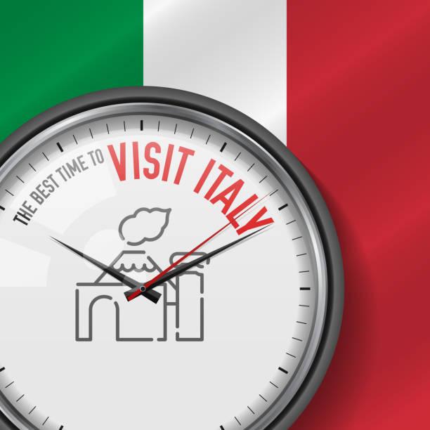 beste zeit für einen besuch in italien. weiße vector uhr mit slogan. hintergrund der italienischen flagge. analoge uhr. vesuvius-ikone - pompeii stock-grafiken, -clipart, -cartoons und -symbole